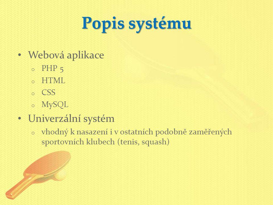 Webová aplikace o PHP 5 o HTML o CSS o MySQL Univerzální systém o vhodný k nasazení i v ostatních podobně zaměřených sportovních klubech (tenis, squash) Popis systému