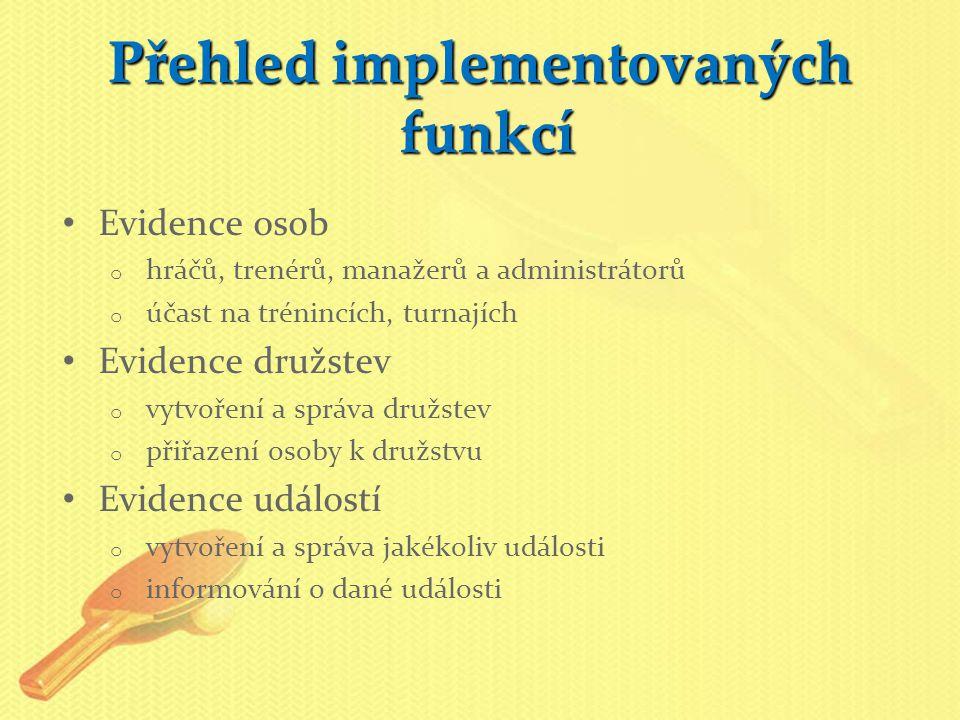 Přehled implementovaných funkcí Evidence osob o hráčů, trenérů, manažerů a administrátorů o účast na trénincích, turnajích Evidence družstev o vytvoře