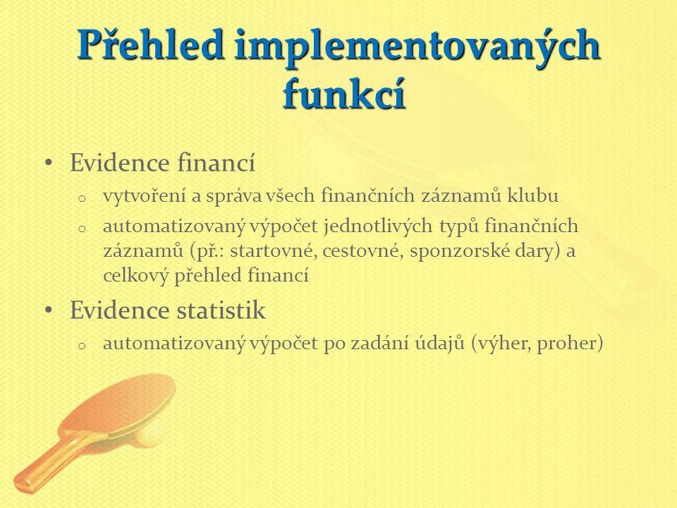 Přehled implementovaných funkcí Evidence financí o vytvoření a správa všech finančních záznamů klubu o automatizovaný výpočet jednotlivých typů finančních záznamů (př.: startovné, cestovné, sponzorské dary) a celkový přehled financí Evidence statistik o automatizovaný výpočet po zadání údajů (výher, proher)