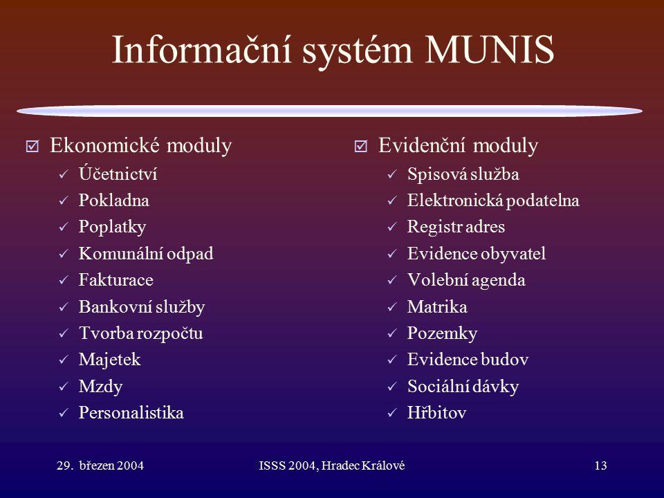 29. březen 2004ISSS 2004, Hradec Králové13 Informační systém MUNIS  Ekonomické moduly Účetnictví Pokladna Poplatky Komunální odpad Fakturace Bankovní