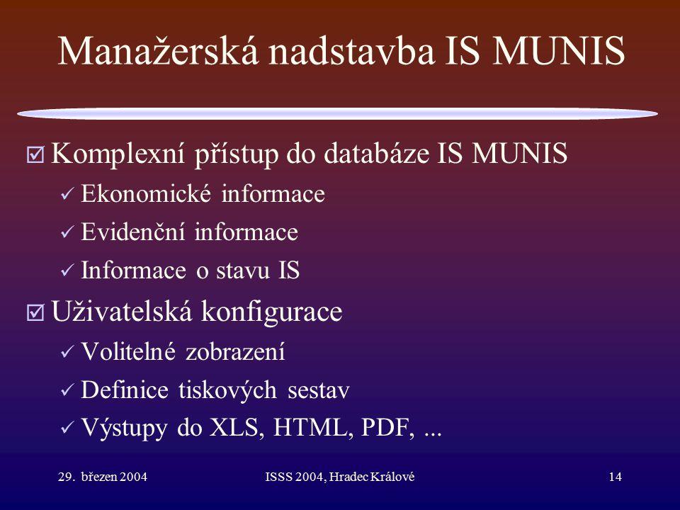 29. březen 2004ISSS 2004, Hradec Králové14 Manažerská nadstavba IS MUNIS  Komplexní přístup do databáze IS MUNIS Ekonomické informace Evidenční infor