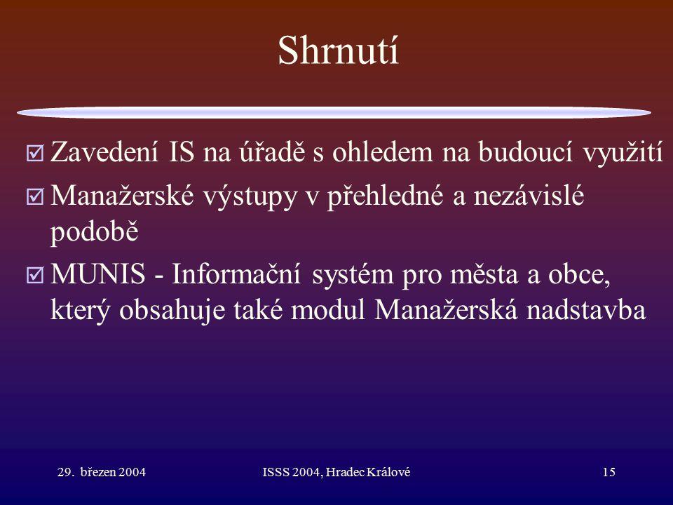 29. březen 2004ISSS 2004, Hradec Králové15 Shrnutí  Zavedení IS na úřadě s ohledem na budoucí využití  Manažerské výstupy v přehledné a nezávislé po