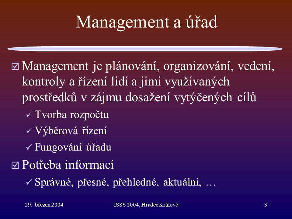 29. březen 2004ISSS 2004, Hradec Králové3 Management a úřad  Management je plánování, organizování, vedení, kontroly a řízení lidí a jimi využívaných