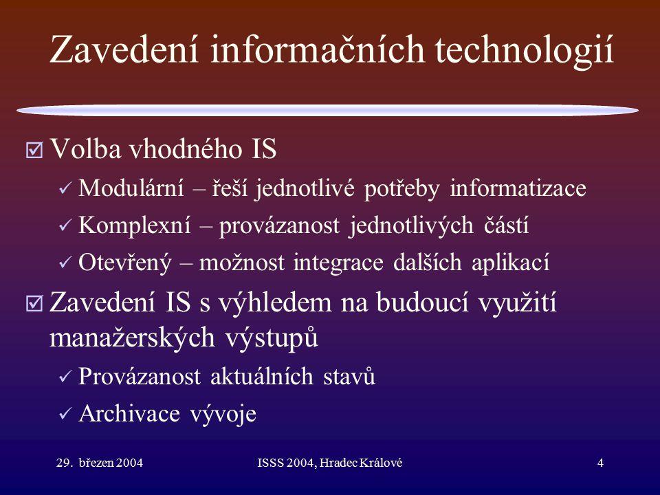 29. březen 2004ISSS 2004, Hradec Králové4 Zavedení informačních technologií  Volba vhodného IS Modulární – řeší jednotlivé potřeby informatizace Komp