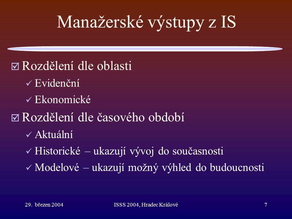 29. březen 2004ISSS 2004, Hradec Králové7 Manažerské výstupy z IS  Rozdělení dle oblasti Evidenční Ekonomické  Rozdělení dle časového období Aktuáln