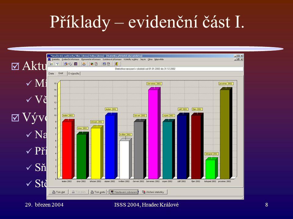 29.březen 2004ISSS 2004, Hradec Králové9 Příklady – evidenční část II.