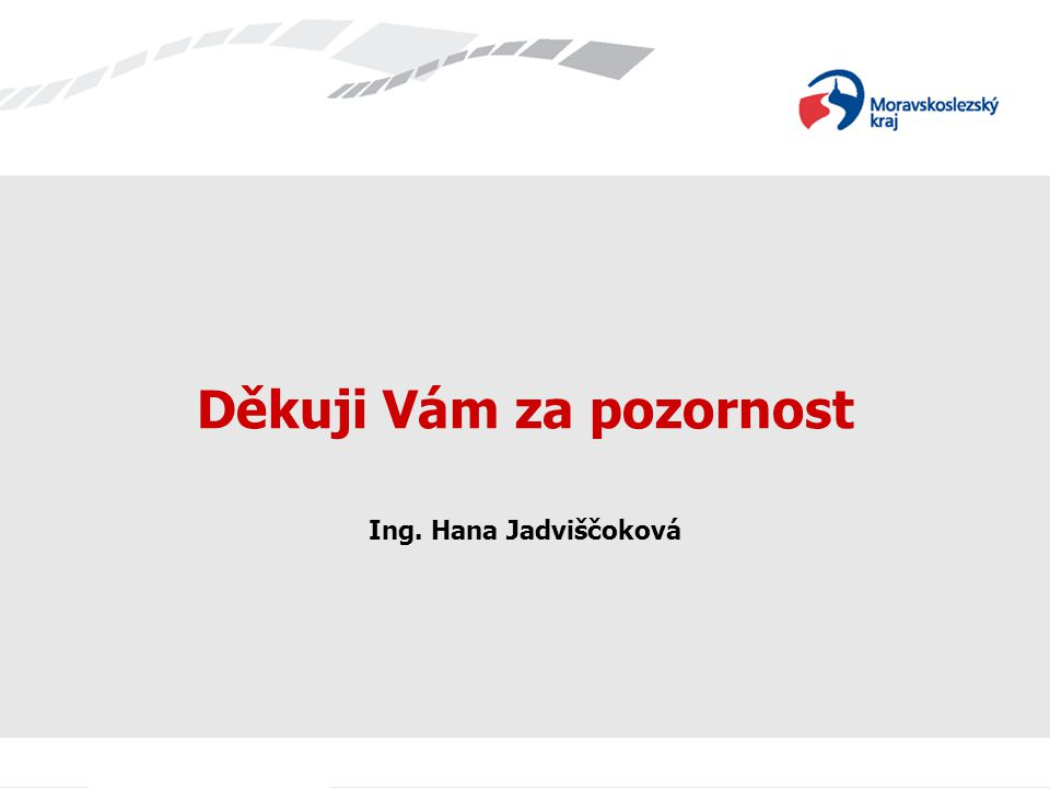 Děkuji Vám za pozornost Ing. Hana Jadviščoková