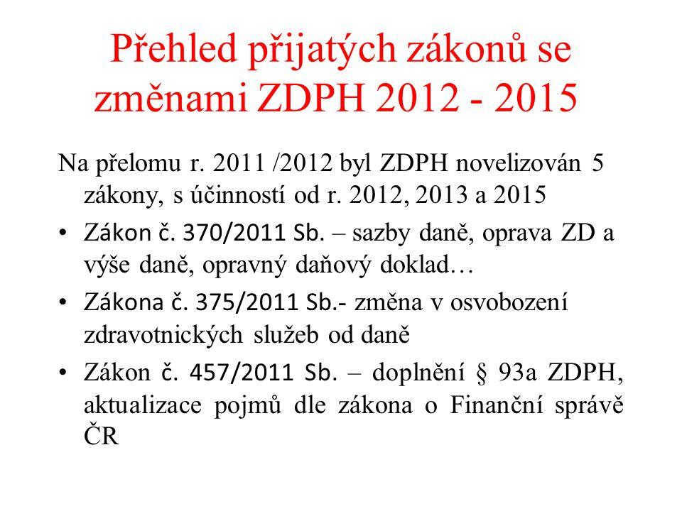 Přehled přijatých zákonů se změnami ZDPH 2012 - 2015 Na přelomu r. 2011 /2012 byl ZDPH novelizován 5 zákony, s účinností od r. 2012, 2013 a 2015 Z áko