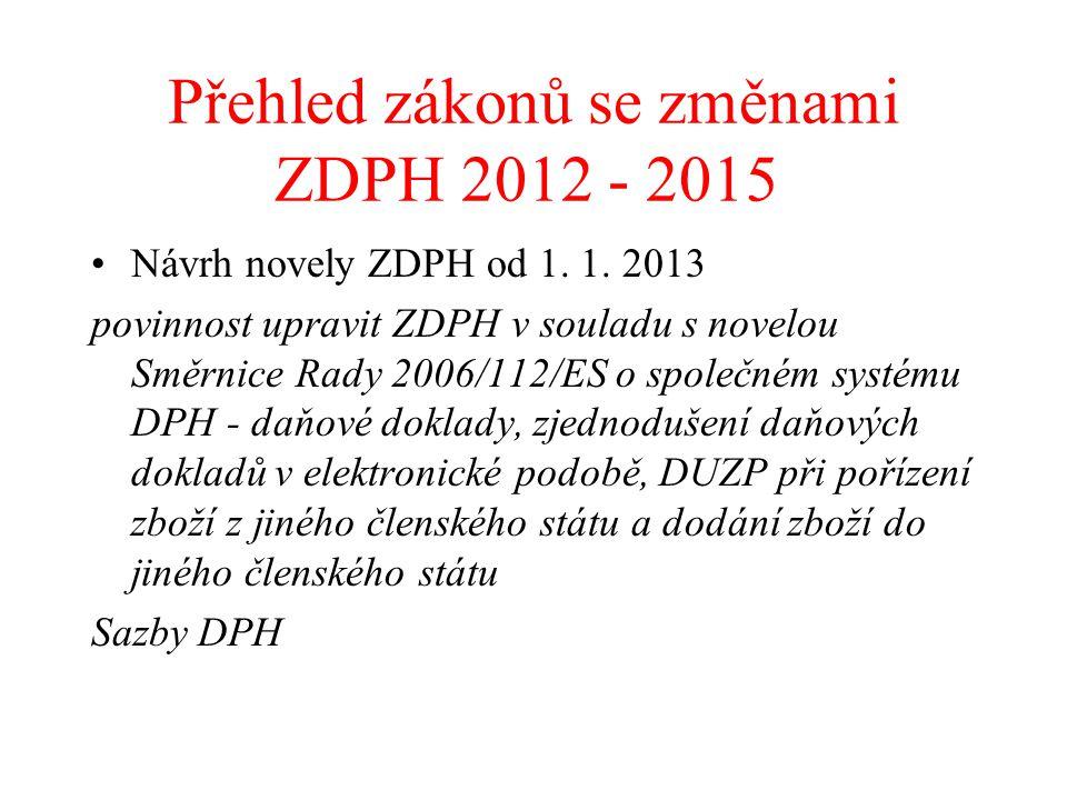 Přehled zákonů se změnami ZDPH 2012 - 2015 Návrh novely ZDPH od 1. 1. 2013 povinnost upravit ZDPH v souladu s novelou Směrnice Rady 2006/112/ES o spol