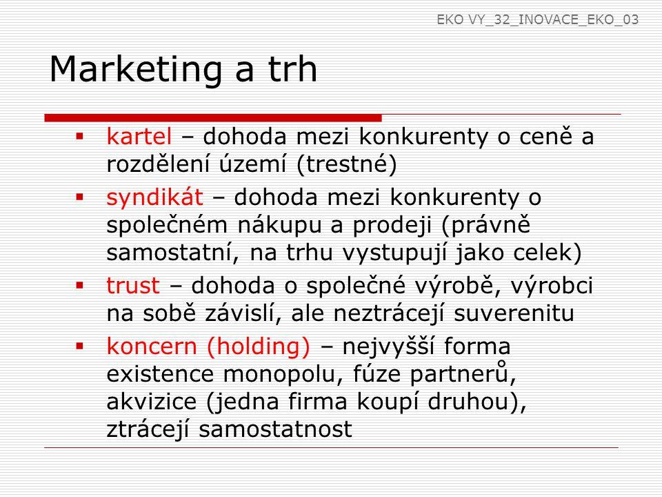 Marketing a trh  kartel – dohoda mezi konkurenty o ceně a rozdělení území (trestné)  syndikát – dohoda mezi konkurenty o společném nákupu a prodeji (právně samostatní, na trhu vystupují jako celek)  trust – dohoda o společné výrobě, výrobci na sobě závislí, ale neztrácejí suverenitu  koncern (holding) – nejvyšší forma existence monopolu, fúze partnerů, akvizice (jedna firma koupí druhou), ztrácejí samostatnost EKO VY_32_INOVACE_EKO_03