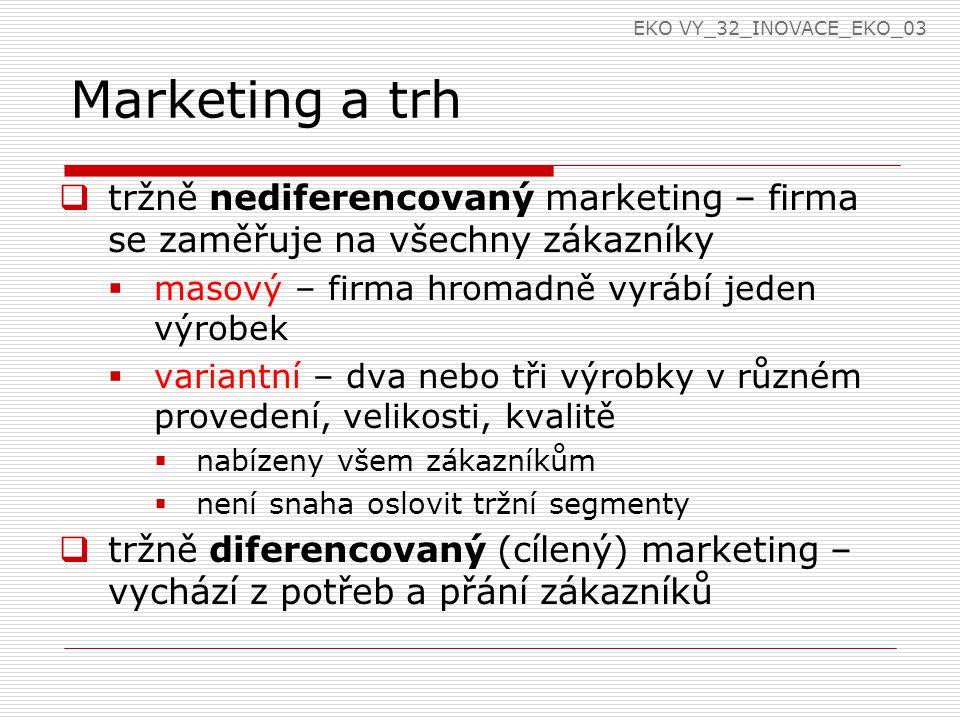 Marketing a trh  tržně nediferencovaný marketing – firma se zaměřuje na všechny zákazníky  masový – firma hromadně vyrábí jeden výrobek  variantní – dva nebo tři výrobky v různém provedení, velikosti, kvalitě  nabízeny všem zákazníkům  není snaha oslovit tržní segmenty  tržně diferencovaný (cílený) marketing – vychází z potřeb a přání zákazníků EKO VY_32_INOVACE_EKO_03