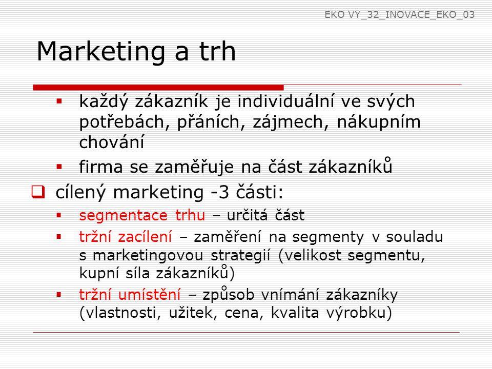 Marketing a trh  každý zákazník je individuální ve svých potřebách, přáních, zájmech, nákupním chování  firma se zaměřuje na část zákazníků  cílený marketing -3 části:  segmentace trhu – určitá část  tržní zacílení – zaměření na segmenty v souladu s marketingovou strategií (velikost segmentu, kupní síla zákazníků)  tržní umístění – způsob vnímání zákazníky (vlastnosti, užitek, cena, kvalita výrobku) EKO VY_32_INOVACE_EKO_03