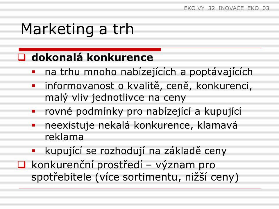 Marketing a trh  dokonalá konkurence  na trhu mnoho nabízejících a poptávajících  informovanost o kvalitě, ceně, konkurenci, malý vliv jednotlivce na ceny  rovné podmínky pro nabízející a kupující  neexistuje nekalá konkurence, klamavá reklama  kupující se rozhodují na základě ceny  konkurenční prostředí – význam pro spotřebitele (více sortimentu, nižší ceny) EKO VY_32_INOVACE_EKO_03