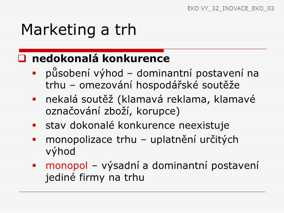 Marketing a trh  nedokonalá konkurence  působení výhod – dominantní postavení na trhu – omezování hospodářské soutěže  nekalá soutěž (klamavá reklama, klamavé označování zboží, korupce)  stav dokonalé konkurence neexistuje  monopolizace trhu – uplatnění určitých výhod  monopol – výsadní a dominantní postavení jediné firmy na trhu EKO VY_32_INOVACE_EKO_03