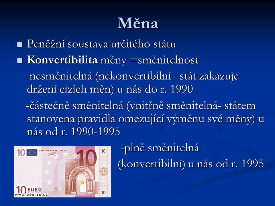 Měna Peněžní soustava určitého státu Peněžní soustava určitého státu Konvertibilita měny =směnitelnost Konvertibilita měny =směnitelnost -nesměnitelná (nekonvertibilní –stát zakazuje držení cizích měn) u nás do r.