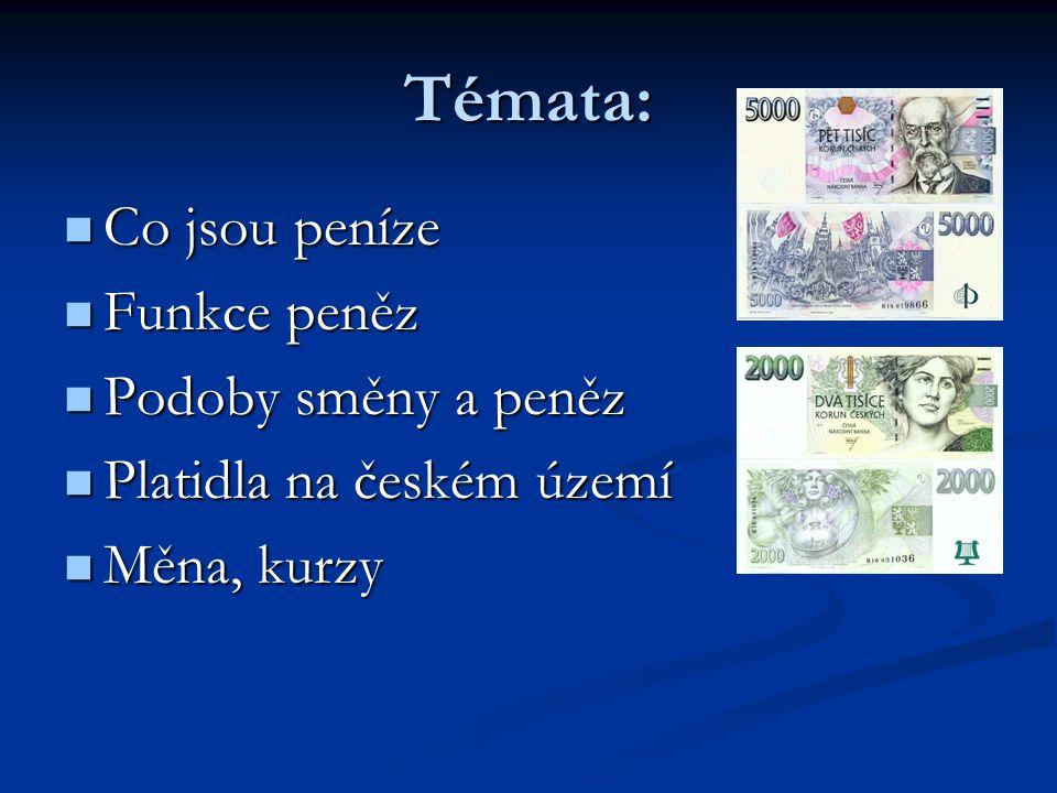 Témata: Co jsou peníze Co jsou peníze Funkce peněz Funkce peněz Podoby směny a peněz Podoby směny a peněz Platidla na českém území Platidla na českém území Měna, kurzy Měna, kurzy