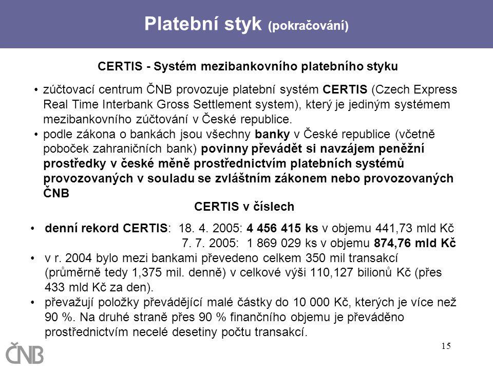 15 CERTIS - Systém mezibankovního platebního styku zúčtovací centrum ČNB provozuje platební systém CERTIS (Czech Express Real Time Interbank Gross Set