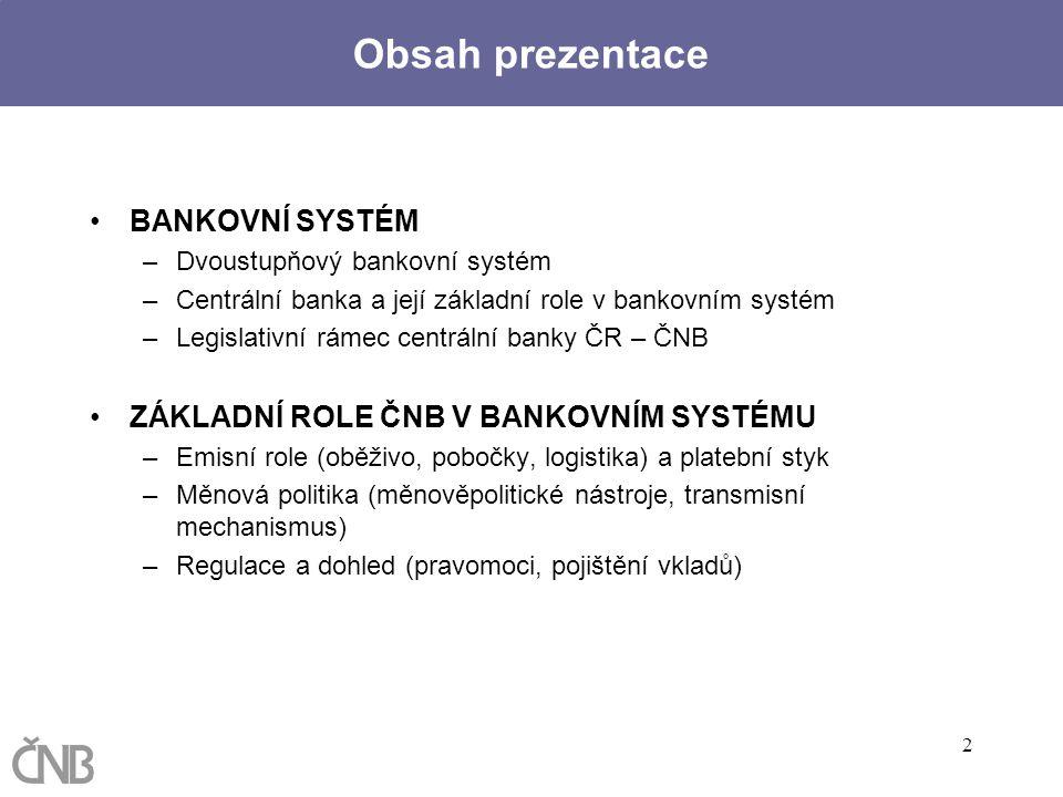2 Obsah prezentace BANKOVNÍ SYSTÉM –Dvoustupňový bankovní systém –Centrální banka a její základní role v bankovním systém –Legislativní rámec centráln