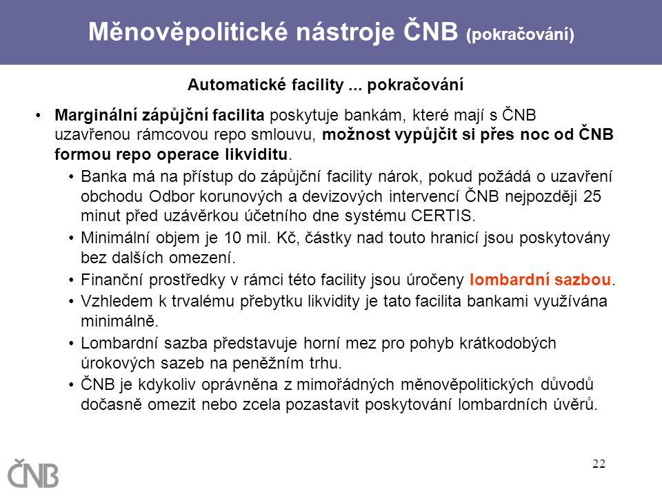 22 Automatické facility... pokračování Marginální zápůjční facilita poskytuje bankám, které mají s ČNB uzavřenou rámcovou repo smlouvu, možnost vypůjč