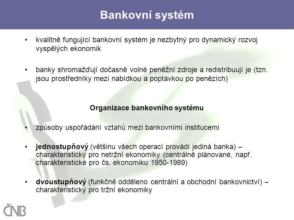 3 Bankovní systém kvalitně fungující bankovní systém je nezbytný pro dynamický rozvoj vyspělých ekonomik banky shromažďují dočasně volné peněžní zdroj