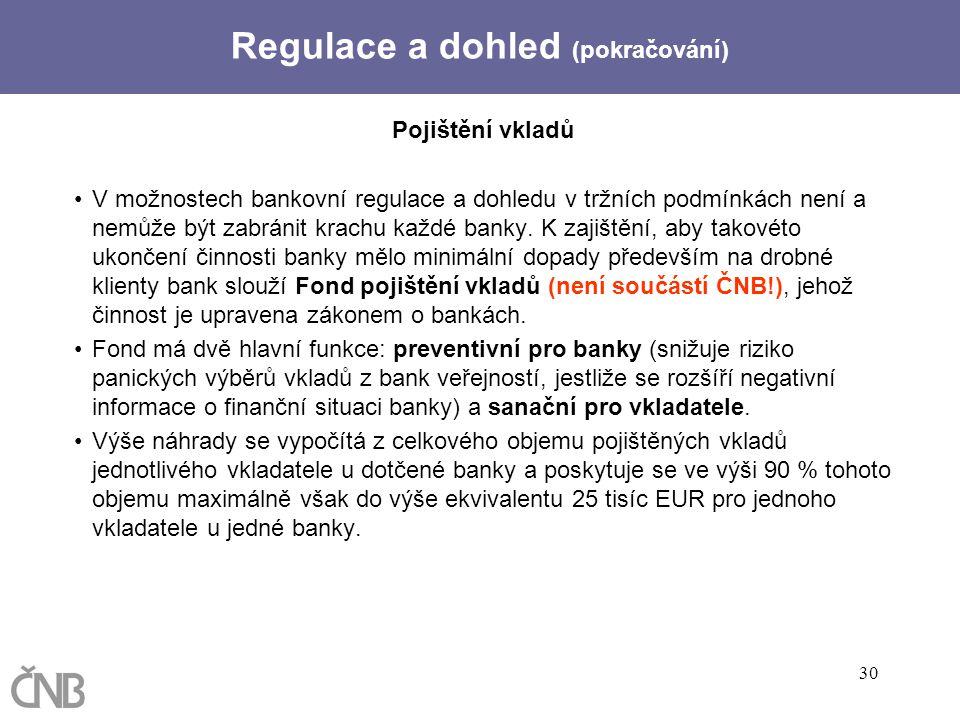 30 Pojištění vkladů V možnostech bankovní regulace a dohledu v tržních podmínkách není a nemůže být zabránit krachu každé banky. K zajištění, aby tako