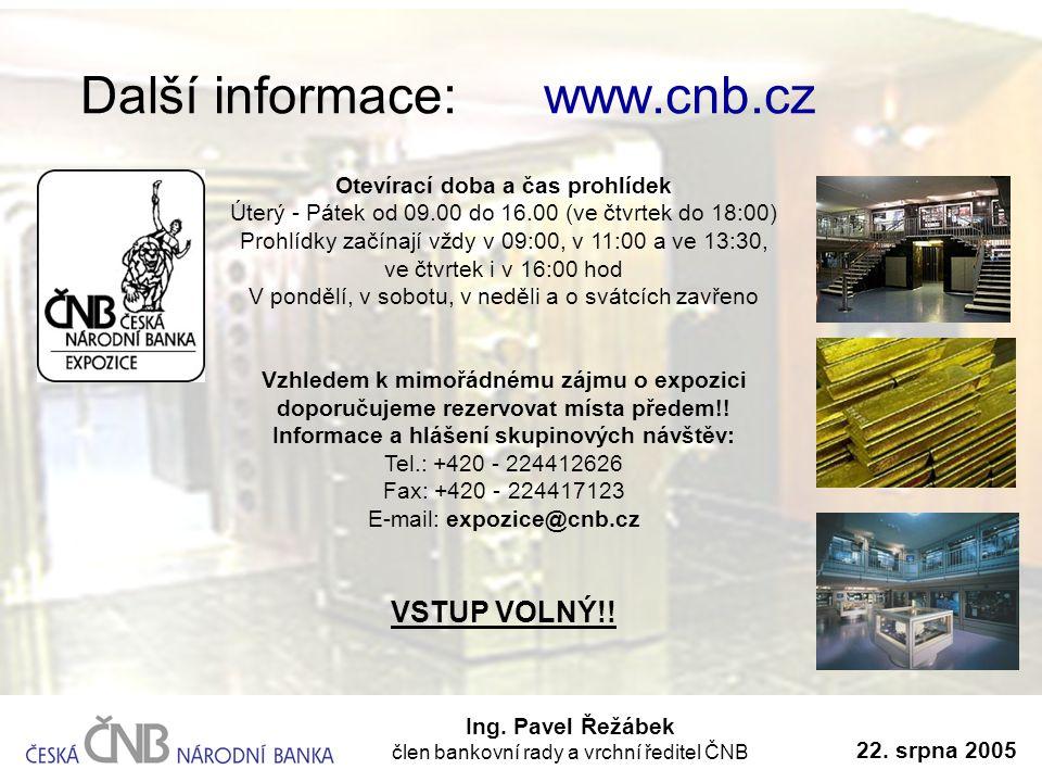 Další informace: www.cnb.cz Ing. Pavel Řežábek člen bankovní rady a vrchní ředitel ČNB 22. srpna 2005 Otevírací doba a čas prohlídek Úterý - Pátek od
