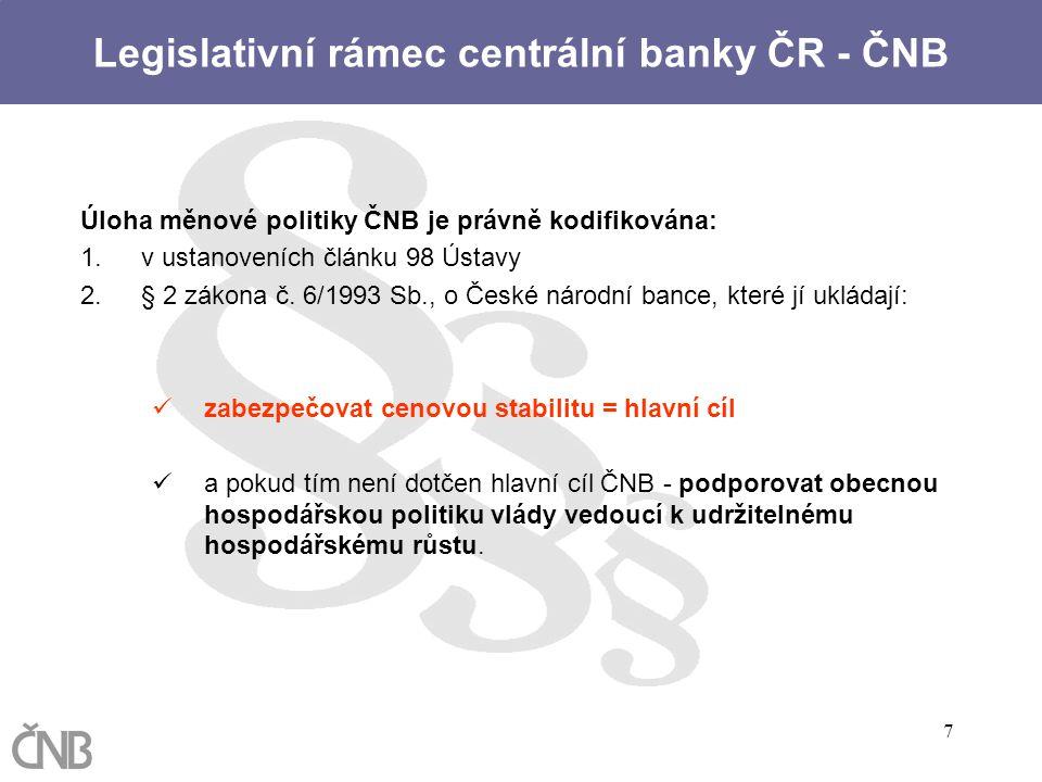 7 Úloha měnové politiky ČNB je právně kodifikována: 1.v ustanoveních článku 98 Ústavy 2.§ 2 zákona č. 6/1993 Sb., o České národní bance, které jí uklá