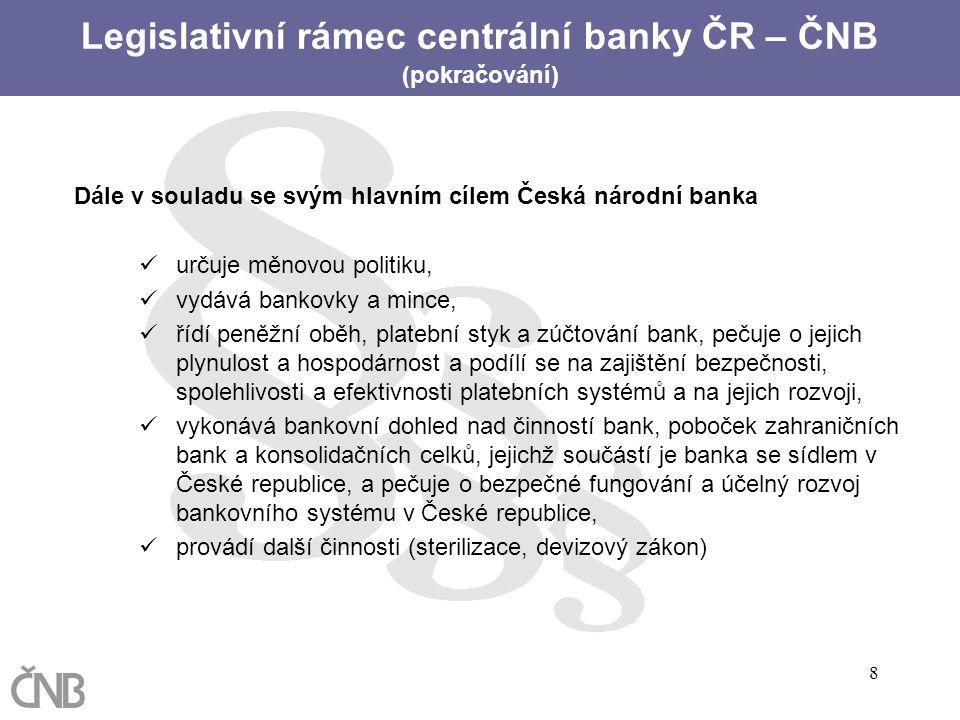 8 Dále v souladu se svým hlavním cílem Česká národní banka určuje měnovou politiku, vydává bankovky a mince, řídí peněžní oběh, platební styk a zúčtov
