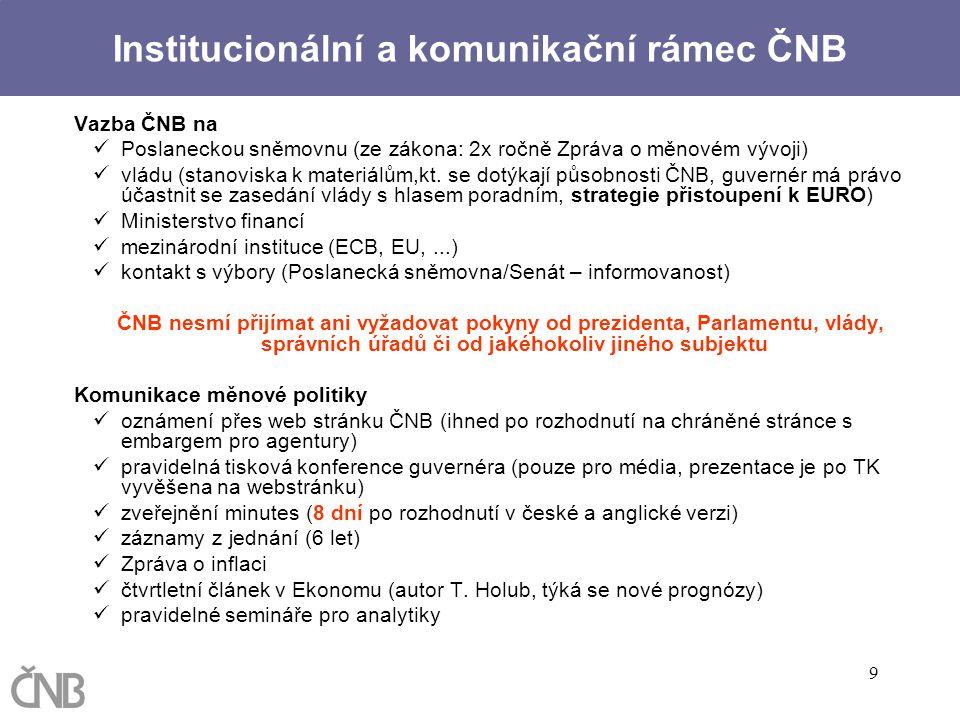 9 Vazba ČNB na Poslaneckou sněmovnu (ze zákona: 2x ročně Zpráva o měnovém vývoji) vládu (stanoviska k materiálům,kt. se dotýkají působnosti ČNB, guver