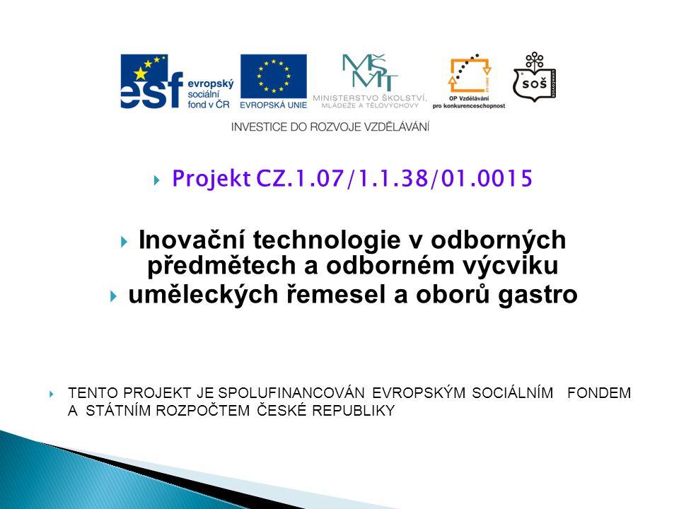  Projekt CZ.1.07/1.1.38/01.0015  Inovační technologie v odborných předmětech a odborném výcviku  uměleckých řemesel a oborů gastro  TENTO PROJEKT