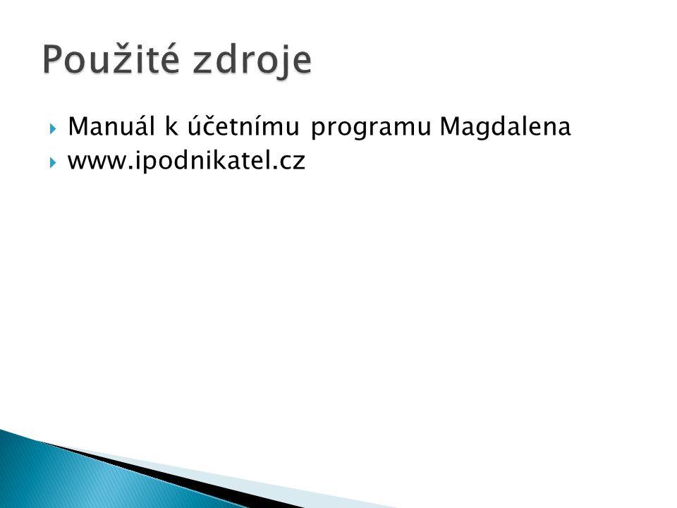  Manuál k účetnímu programu Magdalena  www.ipodnikatel.cz