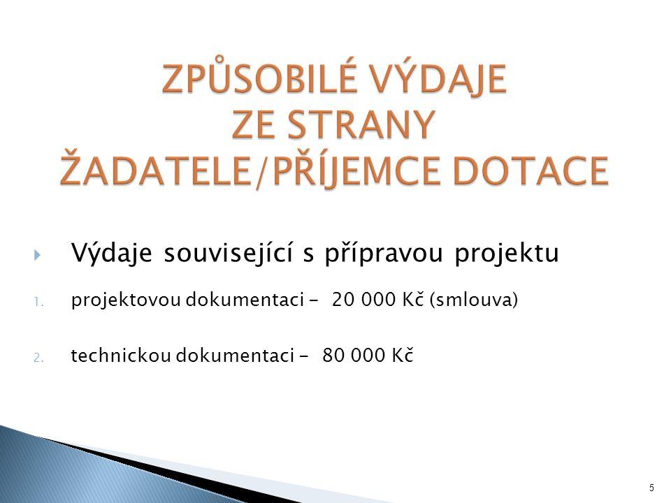  Výdaje související s přípravou projektu 1. projektovou dokumentaci - 20 000 Kč (smlouva) 2.