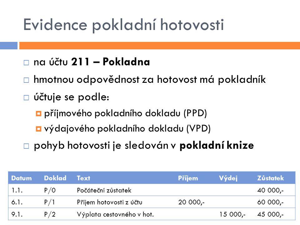 Evidence pokladní hotovosti  na účtu 211 – Pokladna  hmotnou odpovědnost za hotovost má pokladník  účtuje se podle:  příjmového pokladního dokladu (PPD)  výdajového pokladního dokladu (VPD)  pohyb hotovosti je sledován v pokladní knize DatumDokladTextPříjemVýdejZůstatek 1.1.P/0Počáteční zůstatek40 000,- 6.1.P/1Příjem hotovosti z účtu20 000,-60 000,- 9.1.P/2Výplata cestovného v hot.15 000,-45 000,-