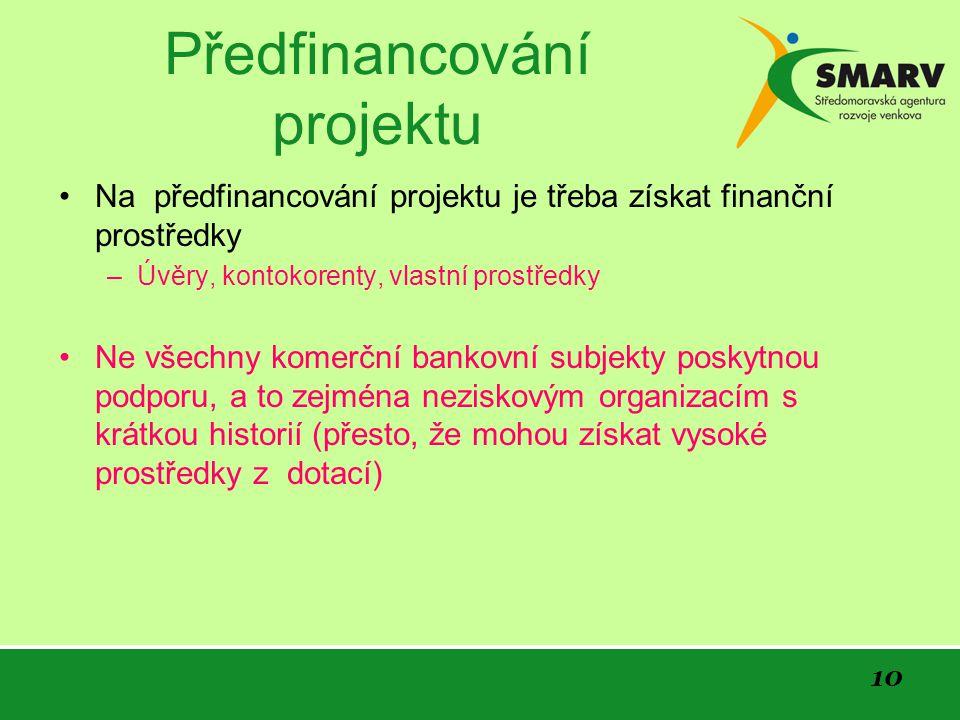 10 Předfinancování projektu Na předfinancování projektu je třeba získat finanční prostředky –Úvěry, kontokorenty, vlastní prostředky Ne všechny komerč