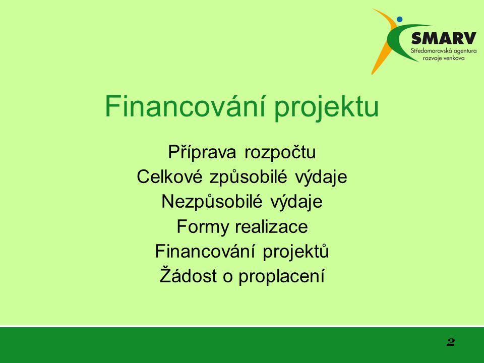 2 Financování projektu Příprava rozpočtu Celkové způsobilé výdaje Nezpůsobilé výdaje Formy realizace Financování projektů Žádost o proplacení