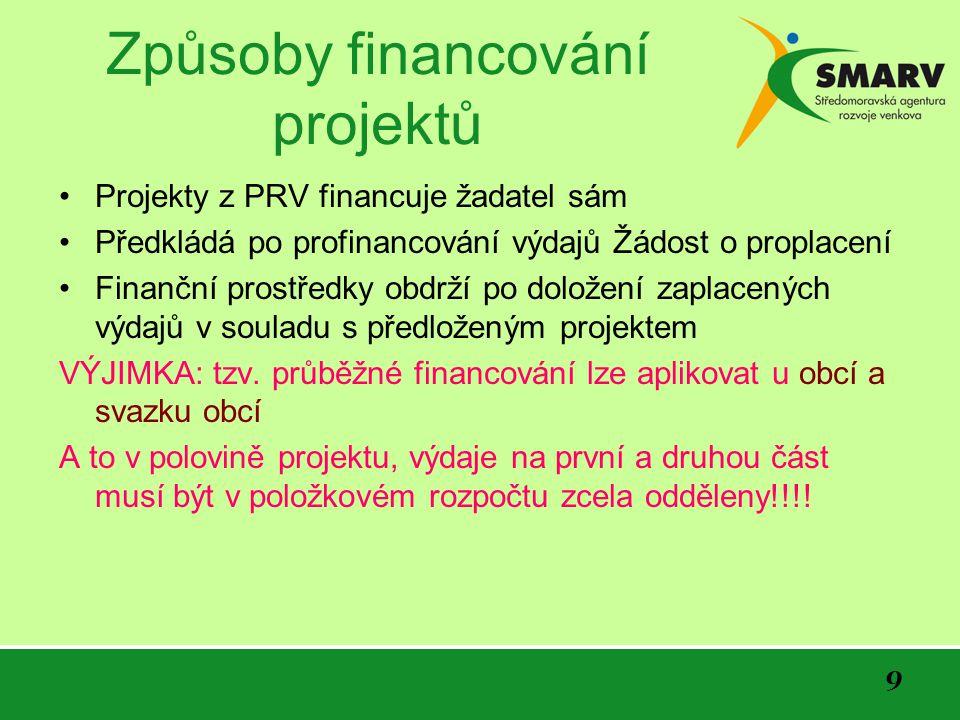 9 Způsoby financování projektů Projekty z PRV financuje žadatel sám Předkládá po profinancování výdajů Žádost o proplacení Finanční prostředky obdrží po doložení zaplacených výdajů v souladu s předloženým projektem VÝJIMKA: tzv.