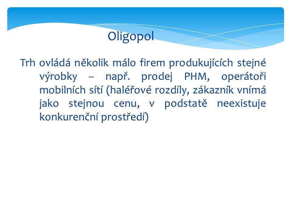 Oligopol Trh ovládá několik málo firem produkujících stejné výrobky – např.