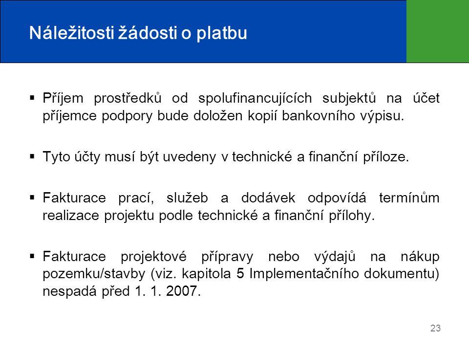 23 Náležitosti žádosti o platbu  Příjem prostředků od spolufinancujících subjektů na účet příjemce podpory bude doložen kopií bankovního výpisu.  Ty
