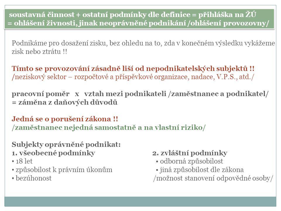 soustavná činnost + ostatní podmínky dle definice = přihláška na ŽÚ = ohlášení živnosti, jinak neoprávněné podnikání /ohlášení provozovny/ soustavná č