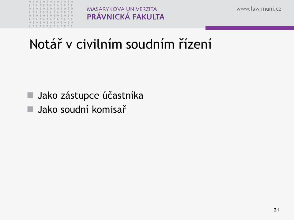 www.law.muni.cz 21 Notář v civilním soudním řízení Jako zástupce účastníka Jako soudní komisař