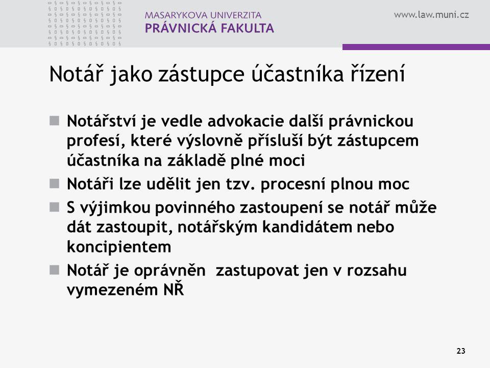 www.law.muni.cz 23 Notář jako zástupce účastníka řízení Notářství je vedle advokacie další právnickou profesí, které výslovně přísluší být zástupcem ú