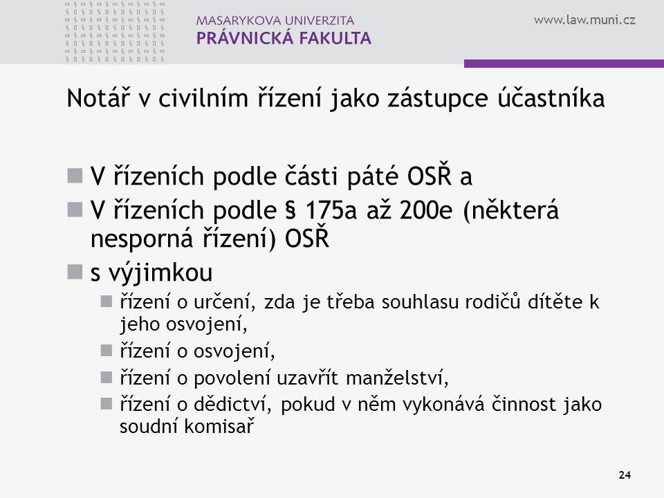 www.law.muni.cz 24 Notář v civilním řízení jako zástupce účastníka V řízeních podle části páté OSŘ a V řízeních podle § 175a až 200e (některá nesporná