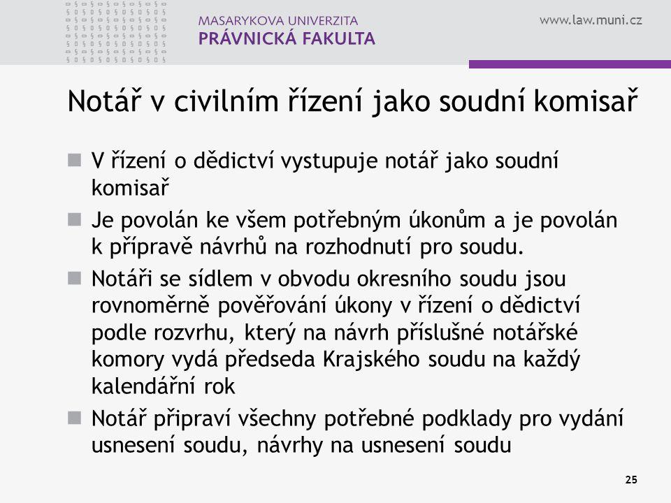 www.law.muni.cz 25 Notář v civilním řízení jako soudní komisař V řízení o dědictví vystupuje notář jako soudní komisař Je povolán ke všem potřebným úk