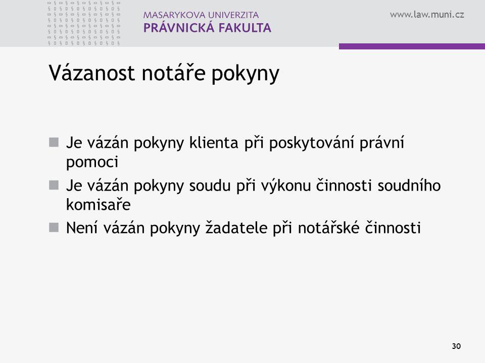 www.law.muni.cz 30 Vázanost notáře pokyny Je vázán pokyny klienta při poskytování právní pomoci Je vázán pokyny soudu při výkonu činnosti soudního kom