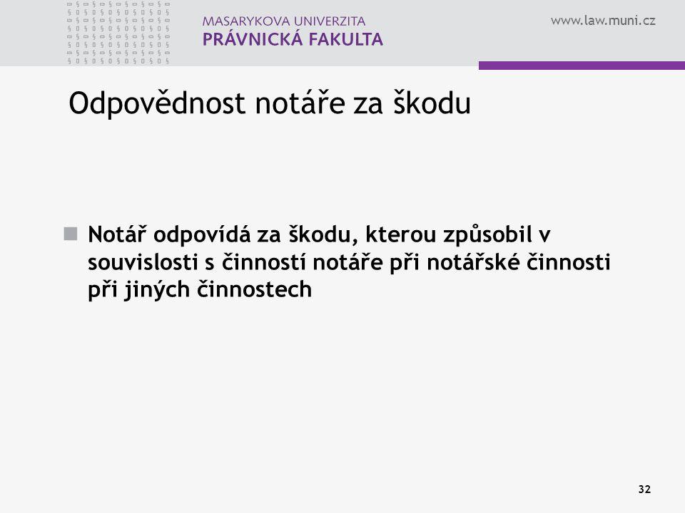 www.law.muni.cz 32 Odpovědnost notáře za škodu Notář odpovídá za škodu, kterou způsobil v souvislosti s činností notáře při notářské činnosti při jiný