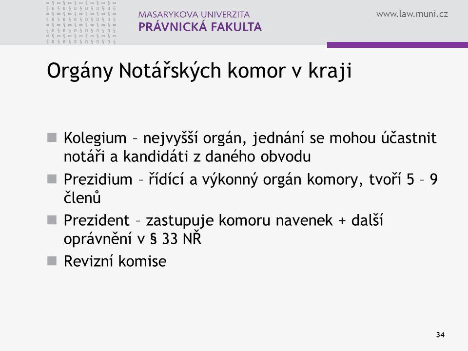 www.law.muni.cz 34 Orgány Notářských komor v kraji Kolegium – nejvyšší orgán, jednání se mohou účastnit notáři a kandidáti z daného obvodu Prezidium –