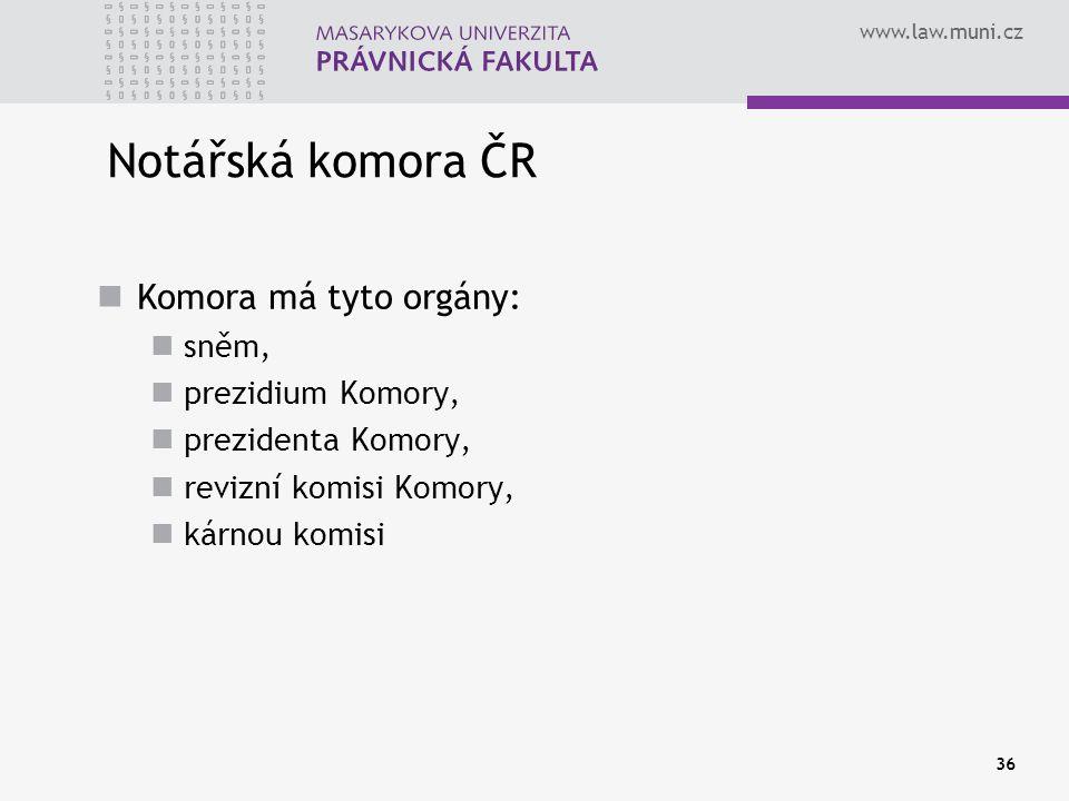 www.law.muni.cz 36 Notářská komora ČR Komora má tyto orgány: sněm, prezidium Komory, prezidenta Komory, revizní komisi Komory, kárnou komisi