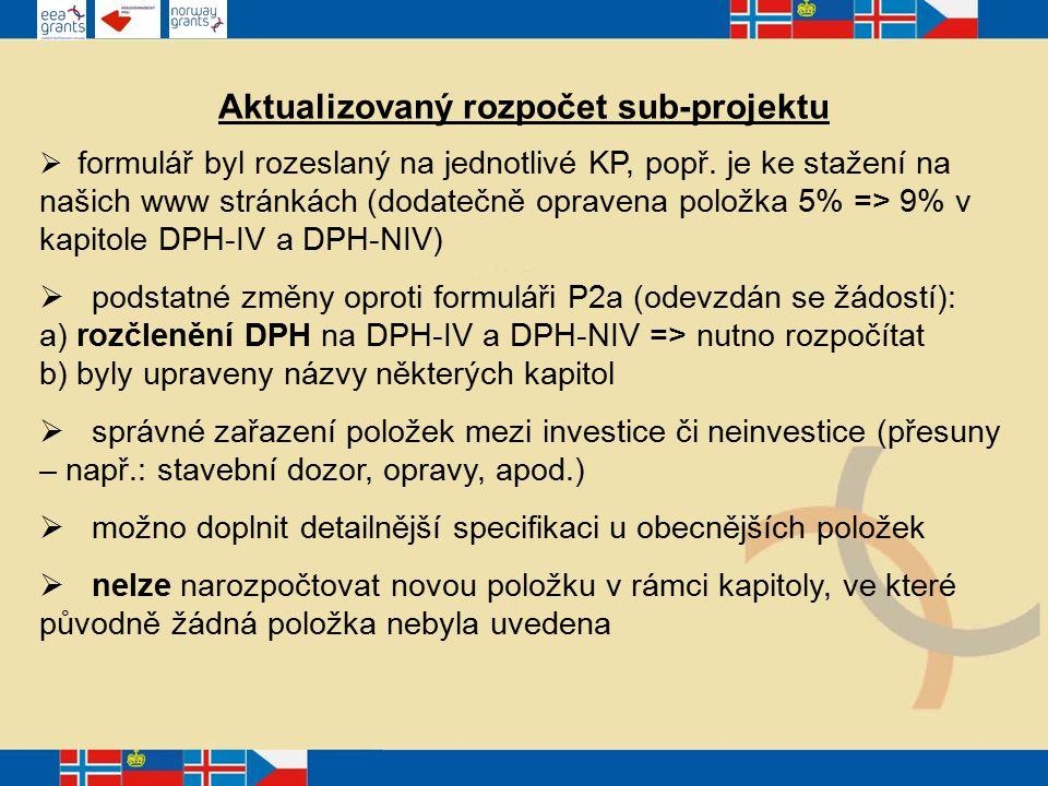 Aktualizovaný rozpočet sub-projektu  formulář byl rozeslaný na jednotlivé KP, popř.