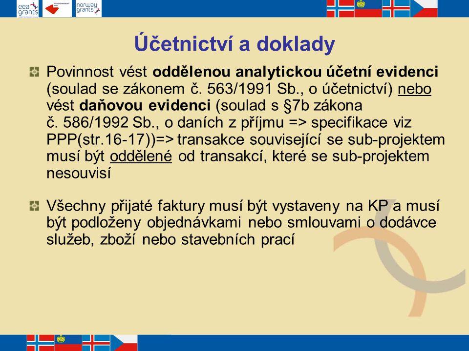 Účetnictví a doklady Povinnost vést oddělenou analytickou účetní evidenci (soulad se zákonem č.