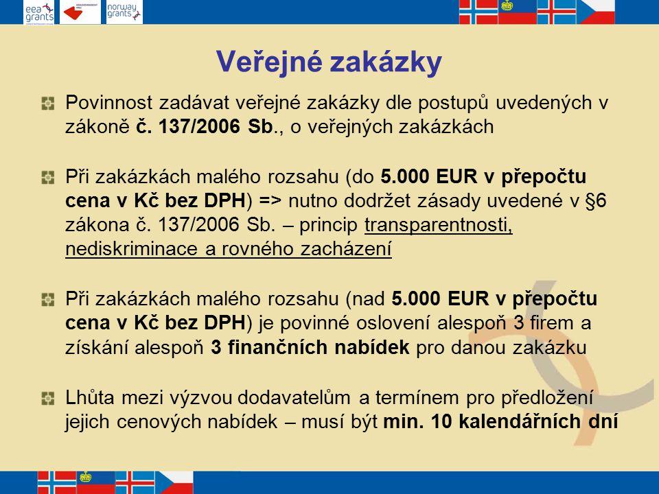 Veřejné zakázky Povinnost zadávat veřejné zakázky dle postupů uvedených v zákoně č.